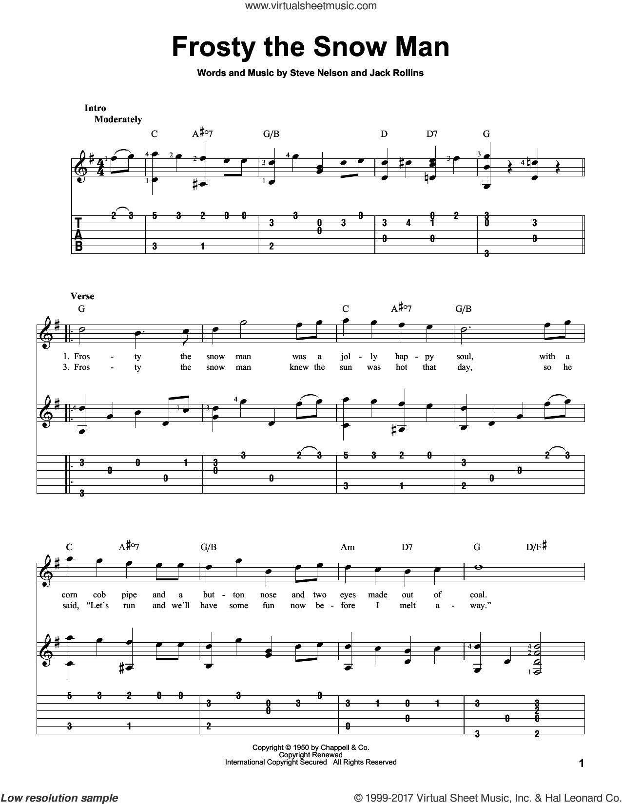Frosty The Snow Man sheet music for guitar solo by Gene Autry, Jack Rollins and Steve Nelson, intermediate skill level
