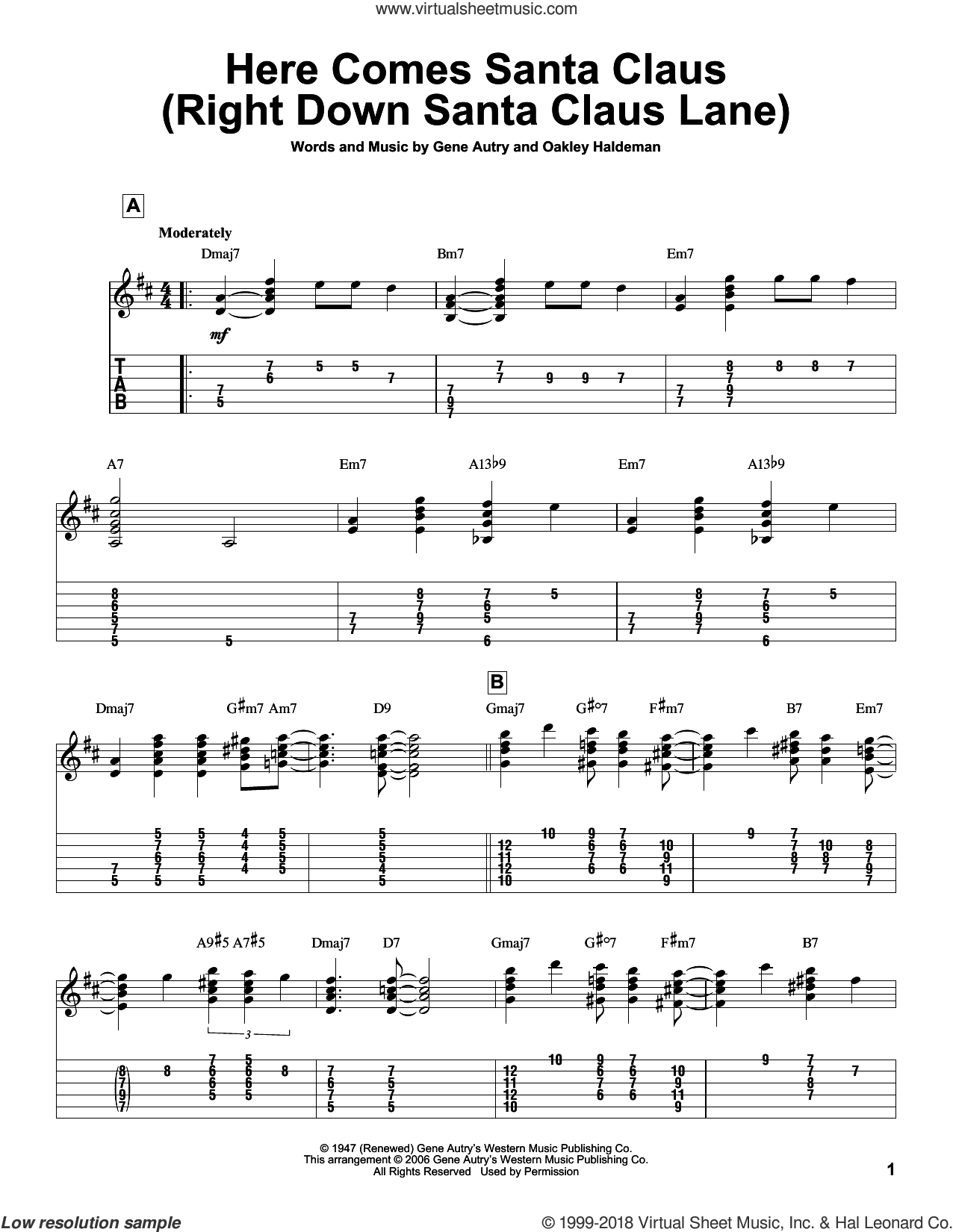 Here Comes Santa Claus (Right Down Santa Claus Lane) sheet music for guitar solo by Gene Autry, intermediate