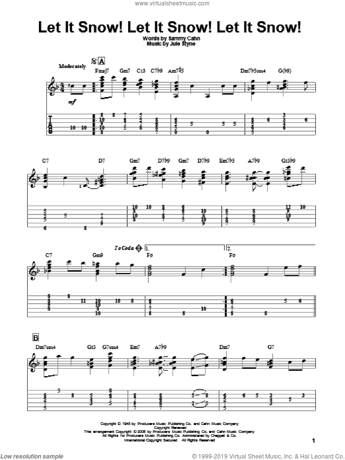 Let It Snow! Let It Snow! Let It Snow! sheet music for guitar solo by Sammy Cahn and Jule Styne, intermediate. Score Image Preview.