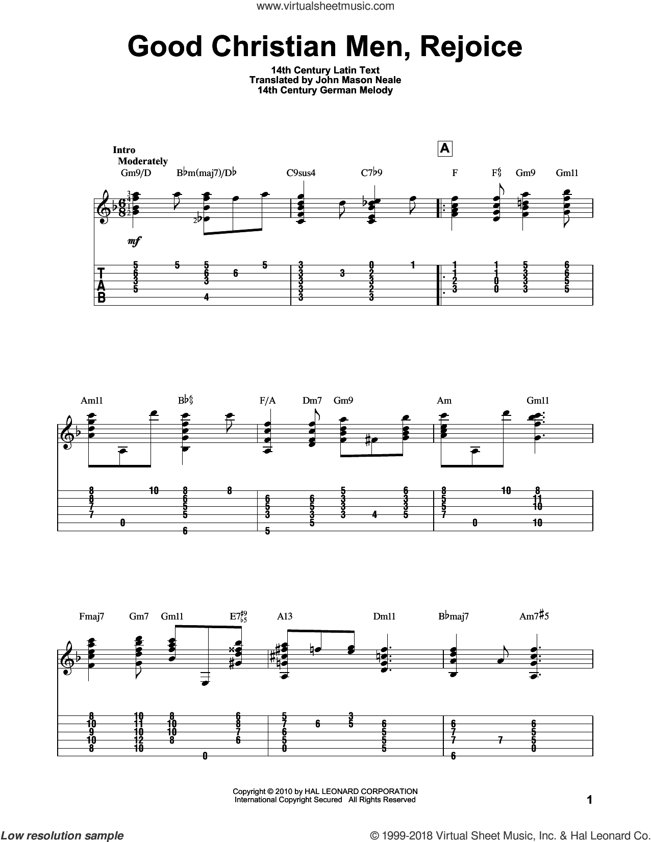 Good Christian Men, Rejoice sheet music for guitar solo by 14th Century German Melody