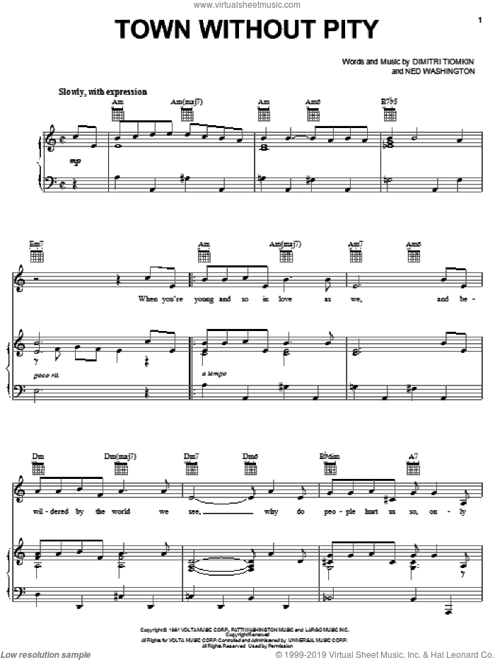 Town Without Pity sheet music for voice, piano or guitar by Gene Pitney, Dimitri Tiomkin and Ned Washington. Score Image Preview.
