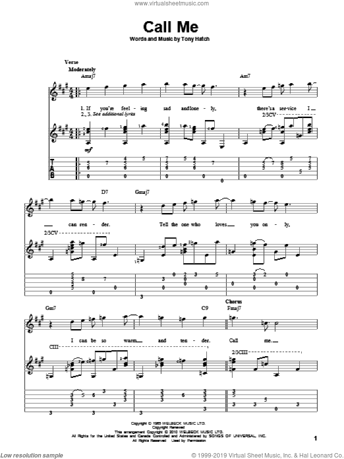 Call Me sheet music for guitar solo by Petula Clark, California Chris Montez and Tony Hatch, intermediate. Score Image Preview.