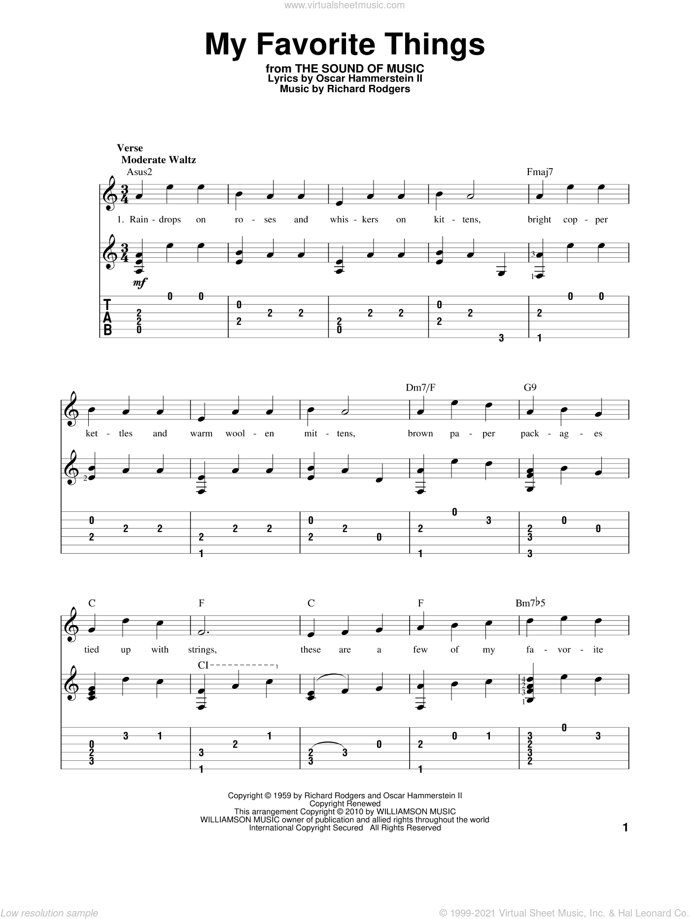 My Favorite Things sheet music for guitar solo by Rodgers & Hammerstein, The Sound Of Music (Musical), Oscar II Hammerstein and Richard Rodgers, intermediate skill level