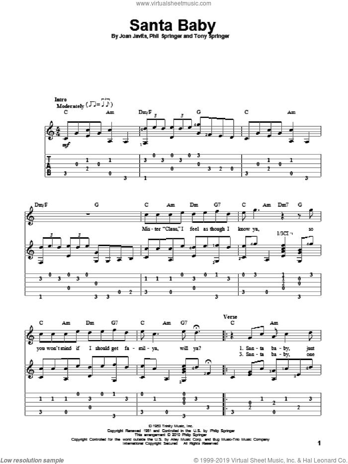 Santa Baby sheet music for guitar solo by Eartha Kitt, Joan Javits, Phil Springer and Tony Springer, intermediate skill level