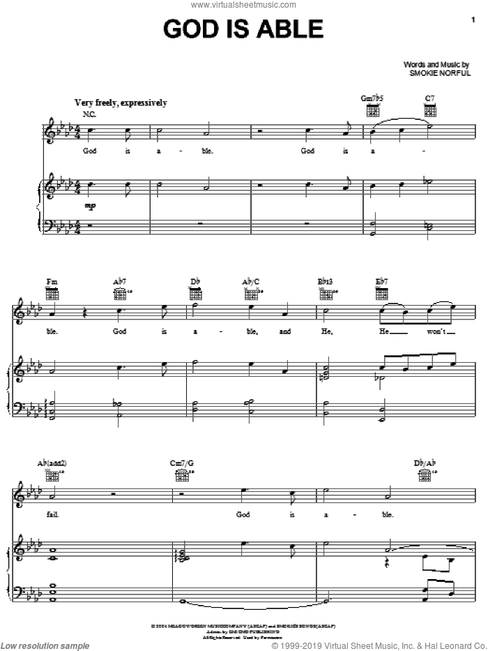 God Is Able sheet music for voice, piano or guitar by Smokie Norful, intermediate skill level