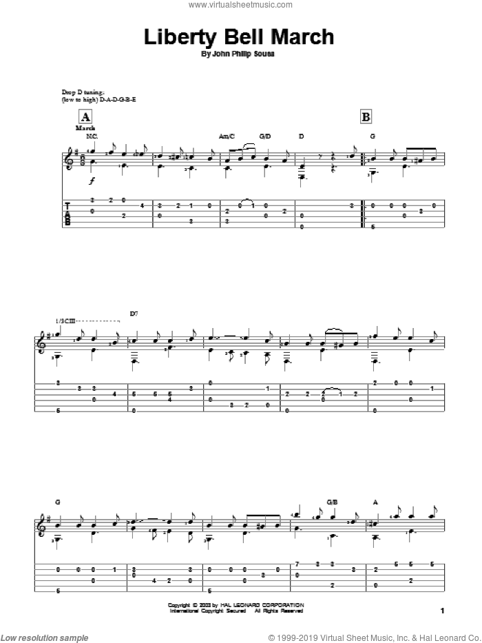 Liberty Bell March sheet music for guitar solo by John Philip Sousa, classical score, intermediate guitar. Score Image Preview.
