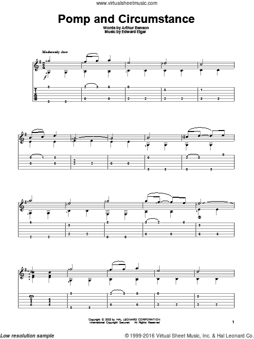 Pomp And Circumstance sheet music for guitar solo by Arthur Benson and Edward Elgar. Score Image Preview.
