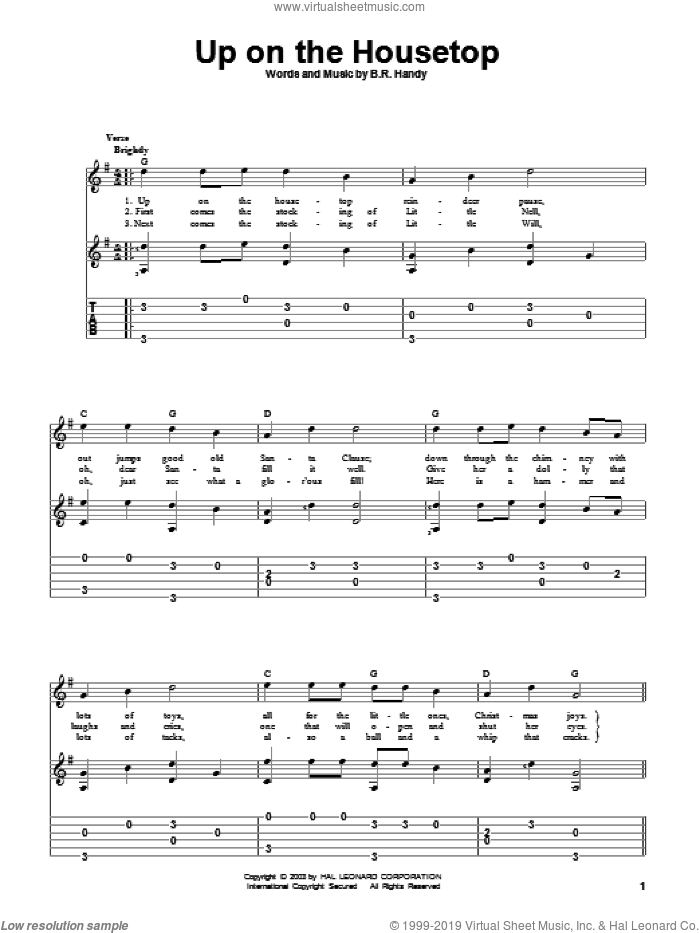 Up On The Housetop sheet music for guitar solo by Benjamin Hanby. Score Image Preview.