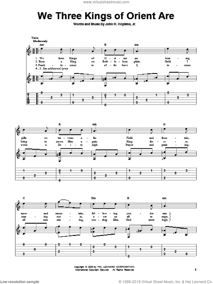 Jr We Three Kings Of Orient Are Sheet Music For Guitar Solo