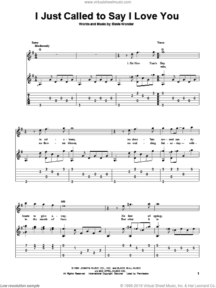 I Just Called To Say I Love You sheet music for guitar solo by Stevie Wonder, intermediate skill level