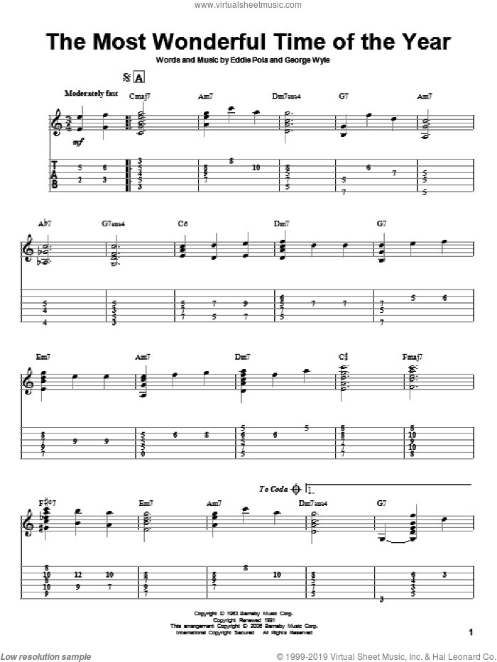 The Most Wonderful Time Of The Year sheet music for guitar solo by George Wyle