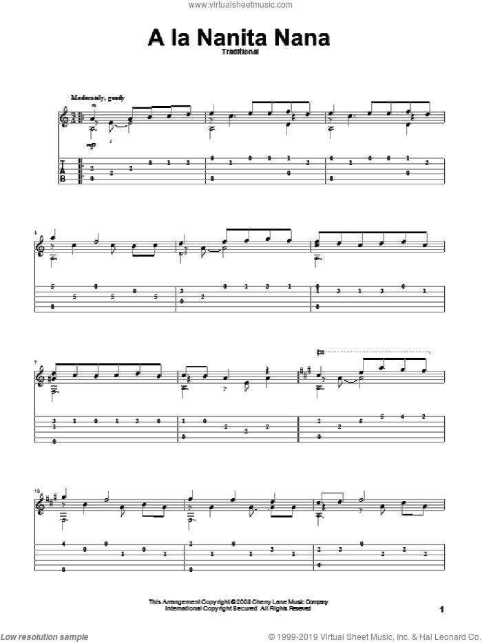 A La Nanita Nana (Hear Lullabies and Sleep Now) sheet music for guitar solo, intermediate skill level