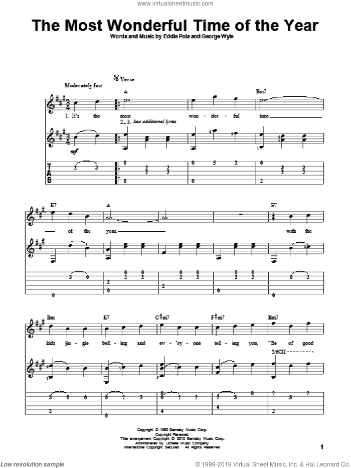 The Most Wonderful Time Of The Year sheet music for guitar solo by Andy Williams, Eddie Pola and George Wyle. Score Image Preview.