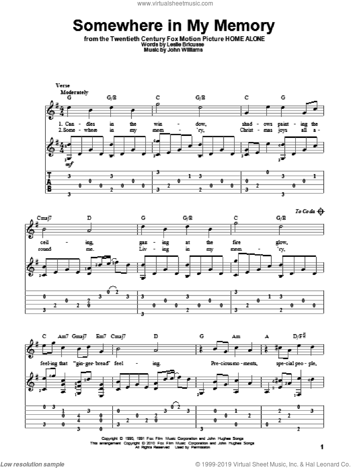 Somewhere In My Memory sheet music for guitar solo by Bette Midler, John Williams and Leslie Bricusse, intermediate skill level