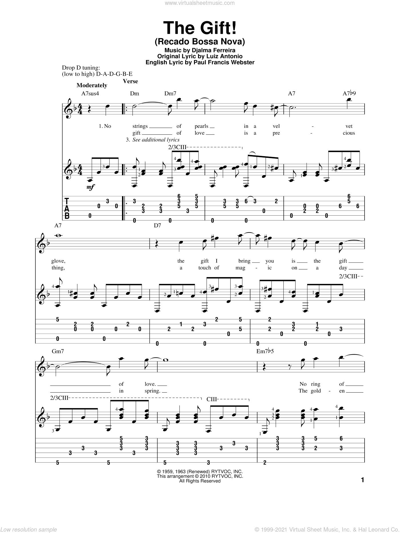 The Gift! (Recado Bossa Nova) sheet music for guitar solo by Luiz Antonio, Djalma Ferreira and Paul Francis Webster, intermediate skill level