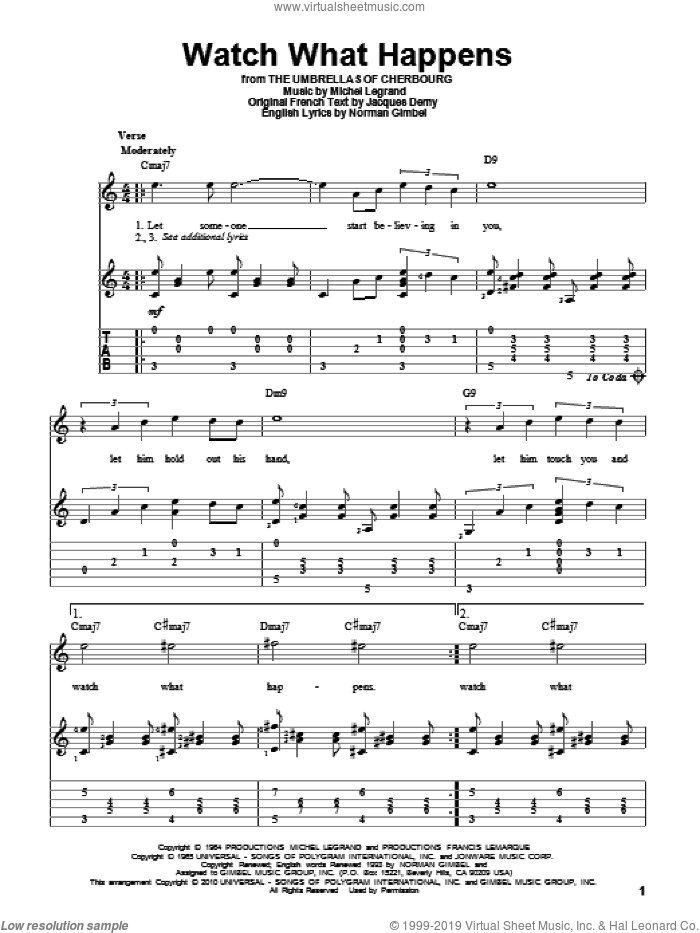 Watch What Happens sheet music for guitar solo by Michel LeGrand and Norman Gimbel, intermediate. Score Image Preview.