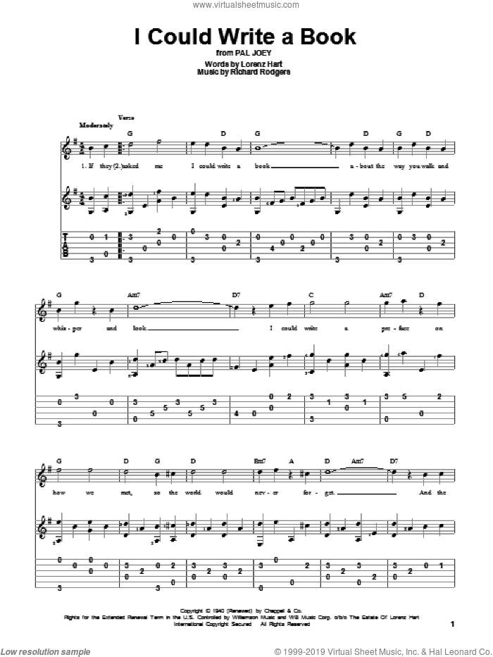 I Could Write A Book sheet music for guitar solo by Richard Rodgers