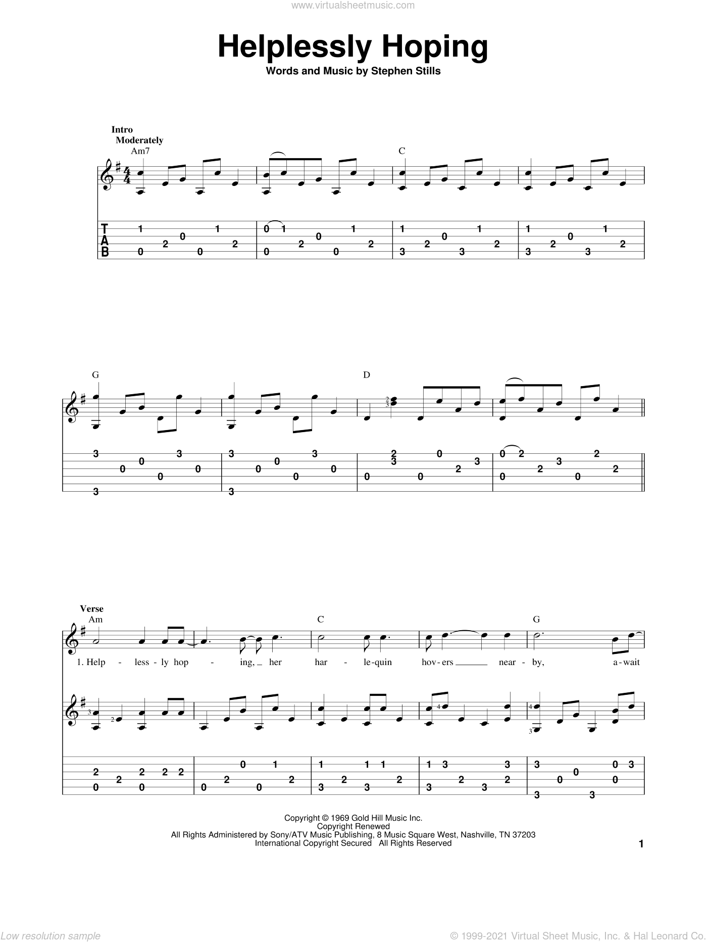 Helplessly Hoping sheet music for guitar solo by Crosby, Stills & Nash, Crosby, Stills and Nash and Stephen Stills, intermediate skill level