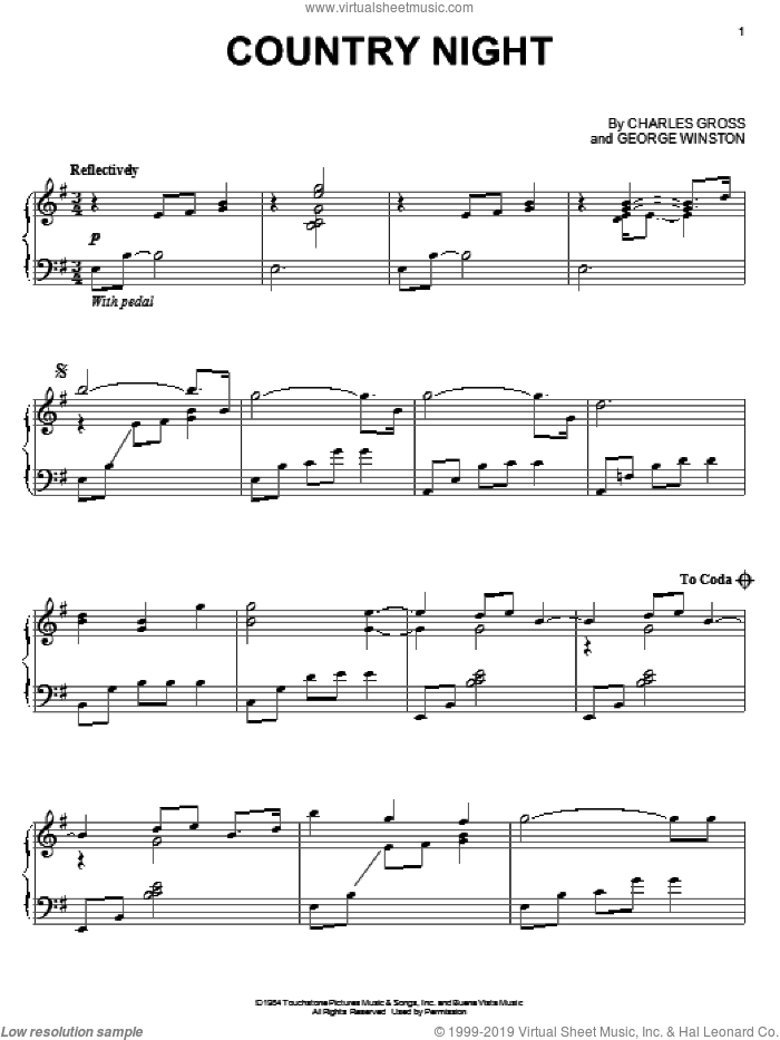 Country Night sheet music for piano solo by George Winston and Charles Gross, intermediate skill level
