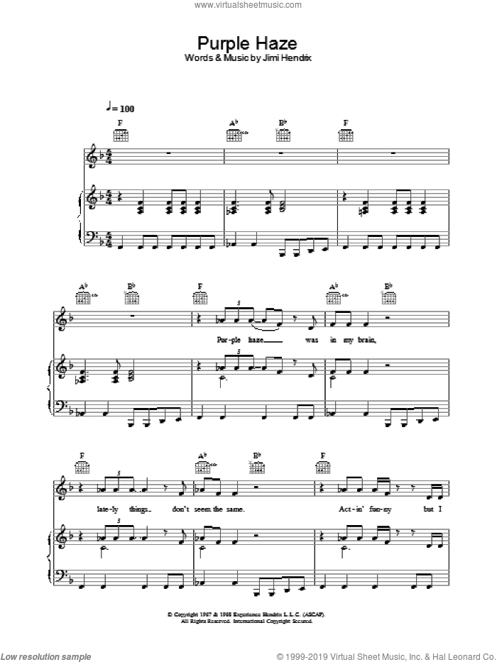 Purple Haze sheet music for voice, piano or guitar by Jimi Hendrix, intermediate skill level