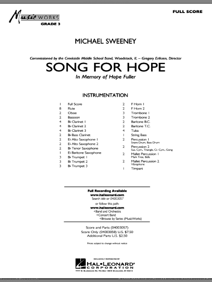 Song For Hope (COMPLETE) sheet music for concert band by Michael Sweeney, intermediate skill level