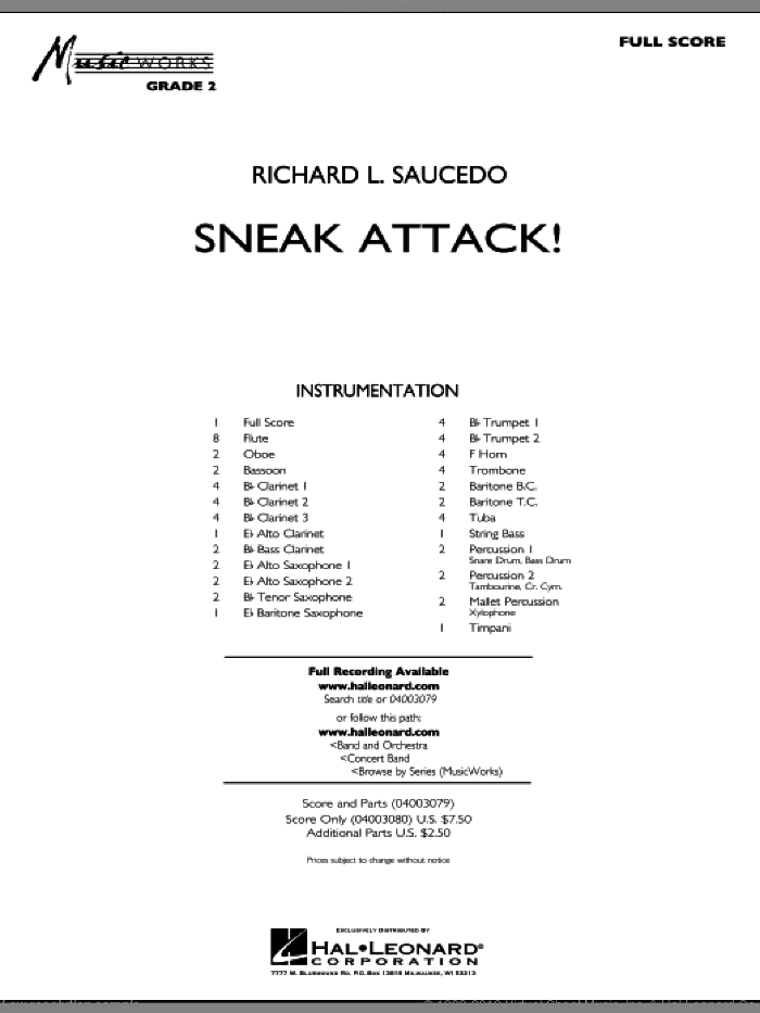 Sneak Attack! (COMPLETE) sheet music for concert band by Richard L. Saucedo, intermediate. Score Image Preview.