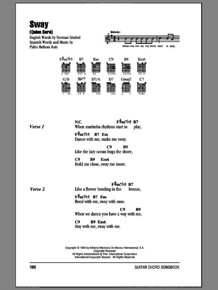 Sway (Quien Sera) sheet music for guitar (chords) by Dean Martin, Norman Gimbel and Pablo Beltran Ruiz, intermediate guitar (chords). Score Image Preview.
