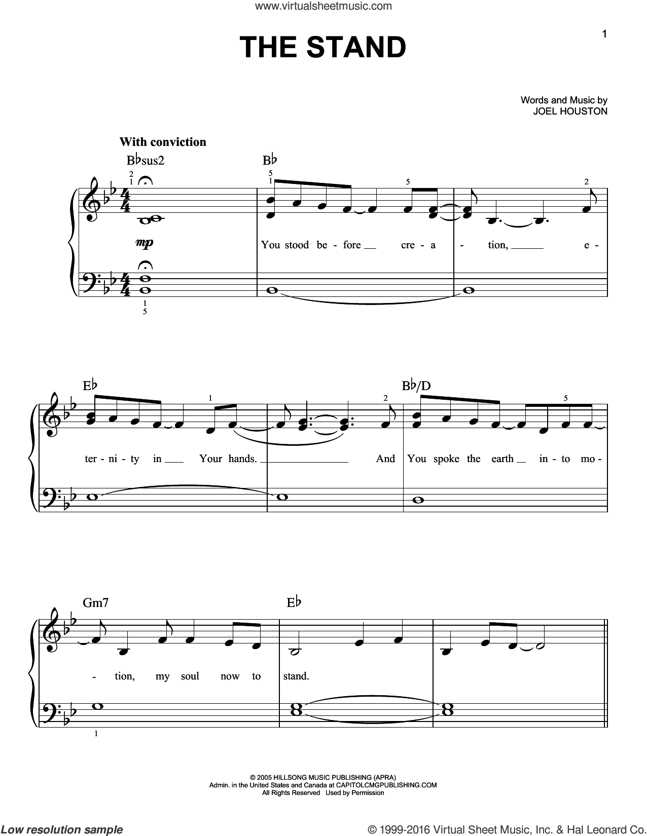 The Stand sheet music for piano solo by Joel Houston, easy skill level