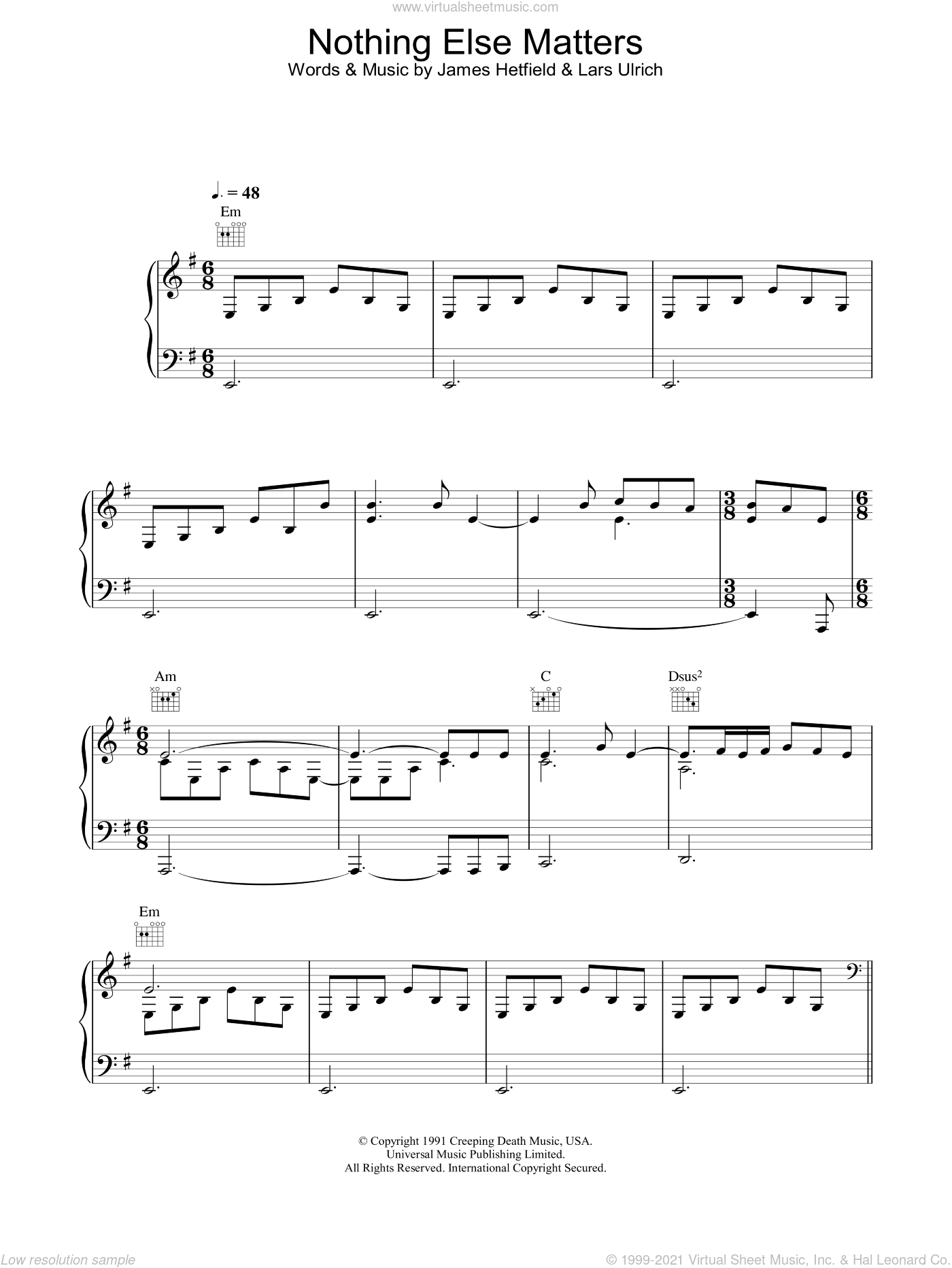 Nothing Else Matters sheet music for voice, piano or guitar by Lucie Silvas, Metallica, James Hetfield and Lars Ulrich, intermediate skill level