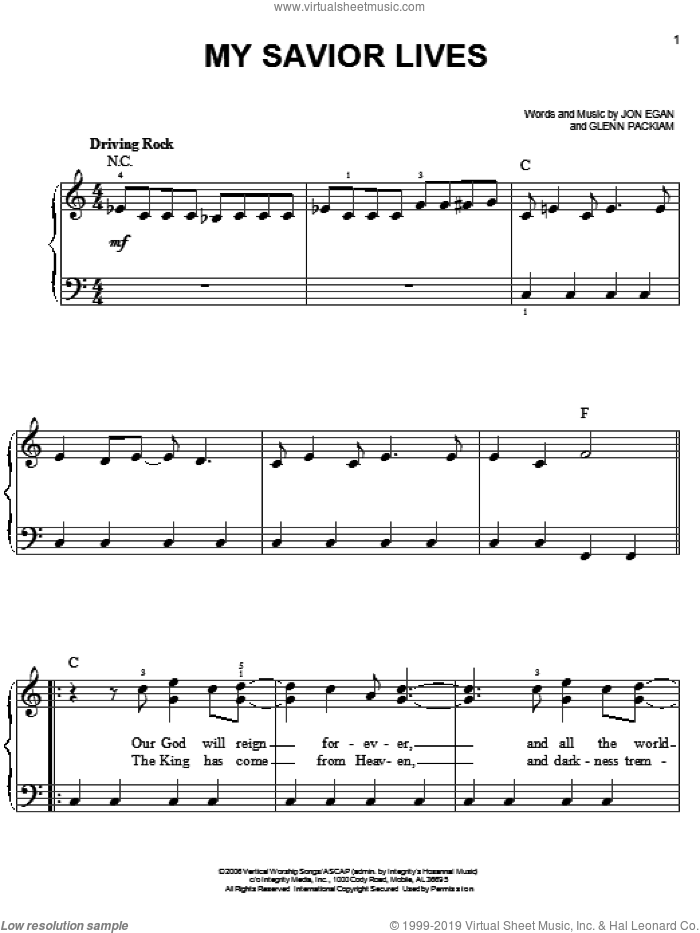 My Savior Lives sheet music for piano solo by Desperation Band, Glenn Packiam and Jon Egan, easy skill level