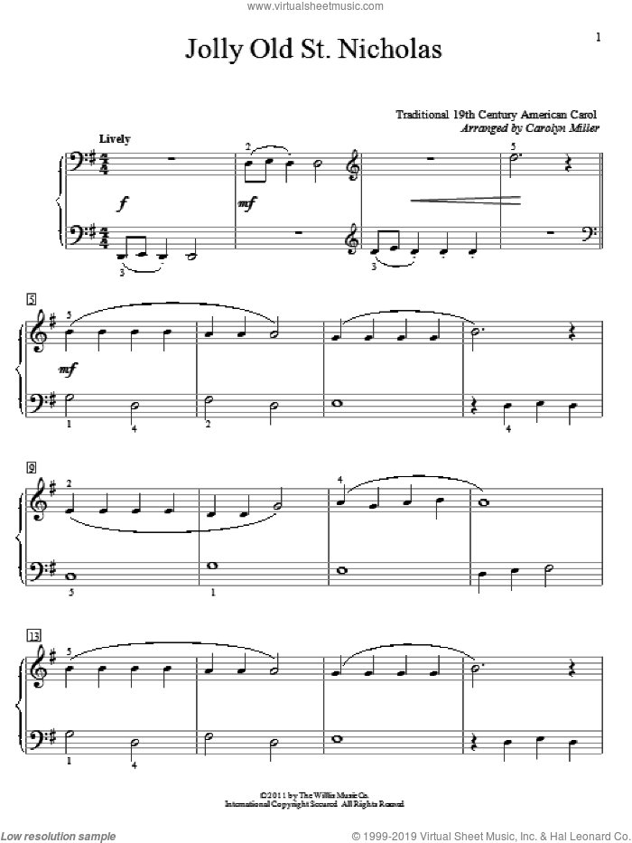 Jolly Old St. Nicholas sheet music for piano solo (elementary) by Anonymous, Carolyn Miller and Miscellaneous, beginner piano (elementary)