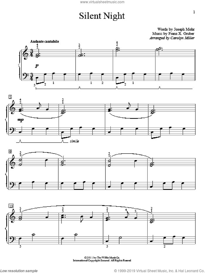 Silent Night sheet music for piano solo (elementary) by Joseph Mohr, Carolyn Miller, Franz Gruber and John F. Young, beginner piano (elementary)