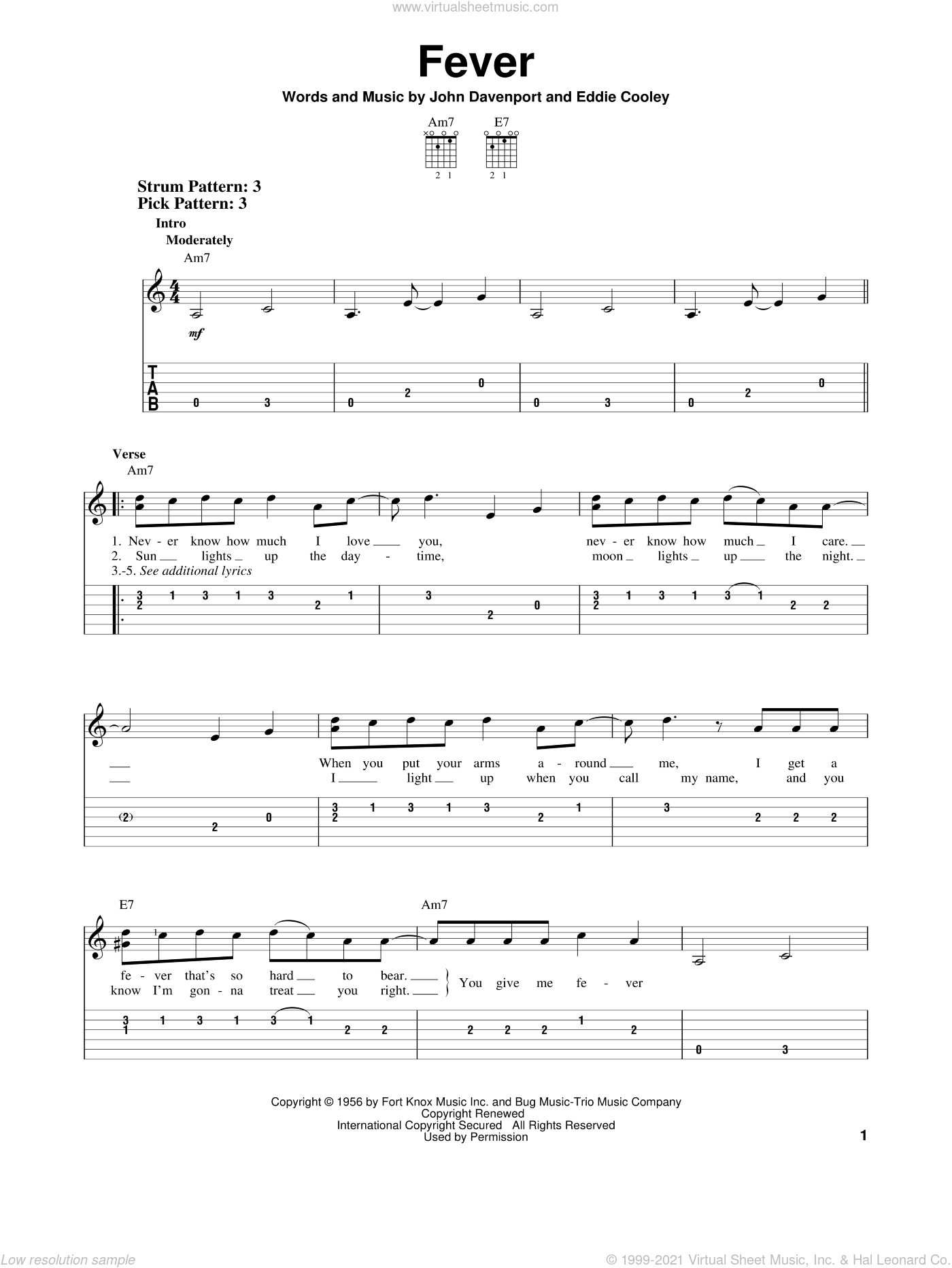 Fever sheet music for guitar solo (easy tablature) by Peggy Lee, Eddie Cooley and John Davenport, easy guitar (easy tablature)