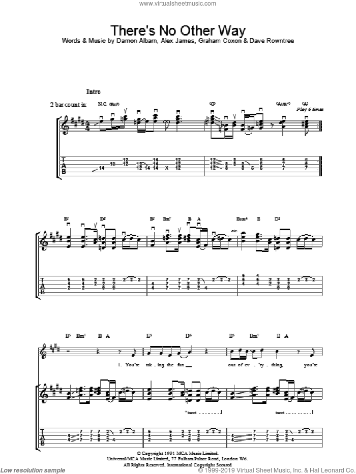 There's No Other Way sheet music for guitar (tablature) by Blur and Graham Coxon, intermediate
