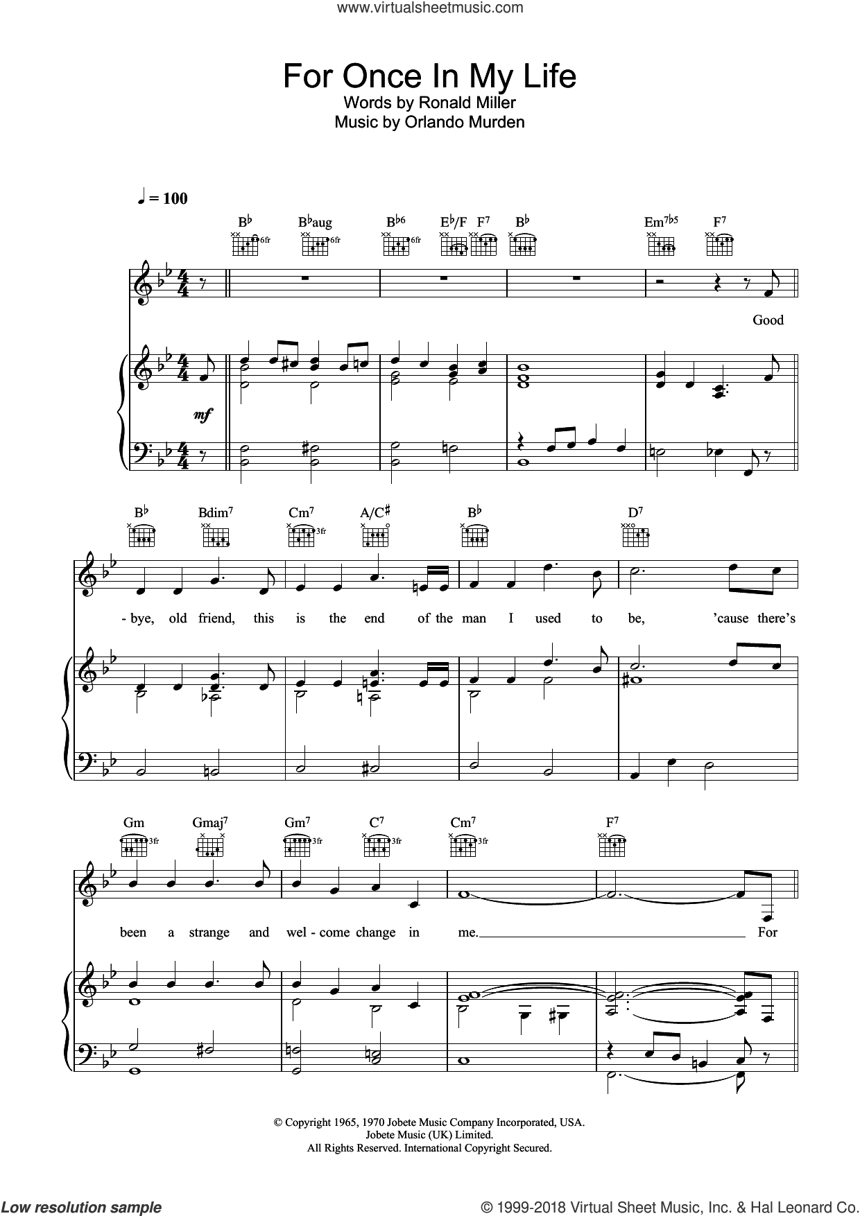 For Once In My Life sheet music for voice, piano or guitar by Ron Miller