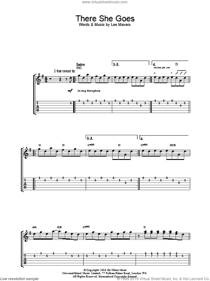 There She Goes sheet music for guitar (tablature) by Lee Mavers. Score Image Preview.