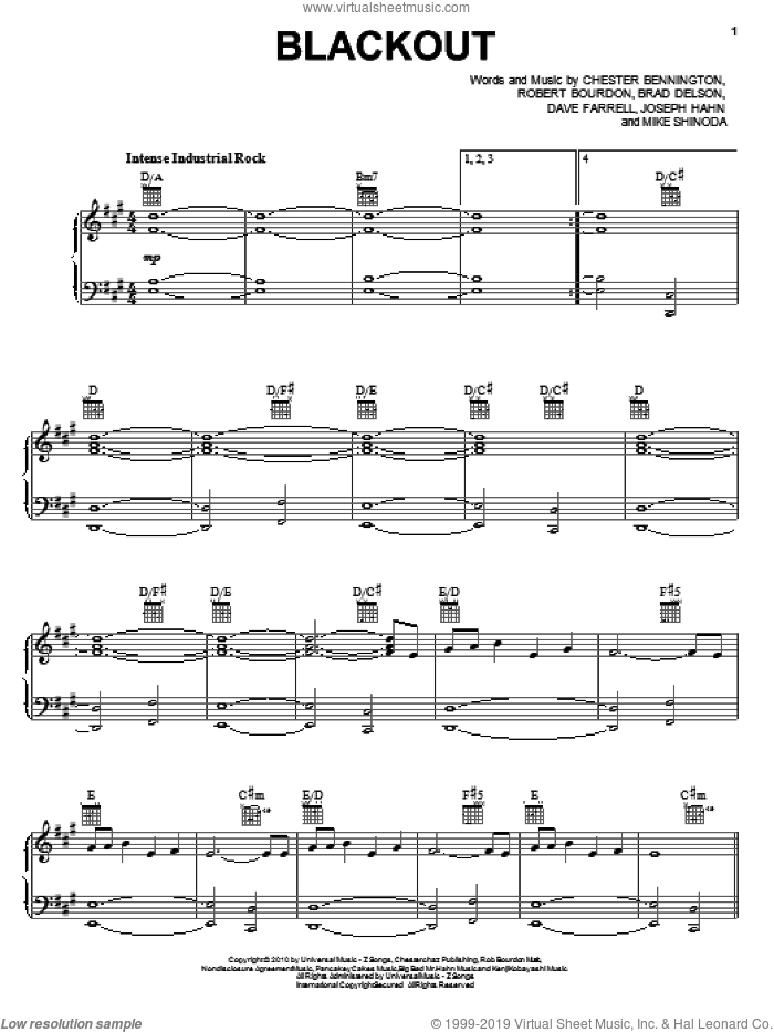 Blackout sheet music for voice, piano or guitar by Rob Bourdon, Linkin Park, Brad Delson and Mike Shinoda. Score Image Preview.