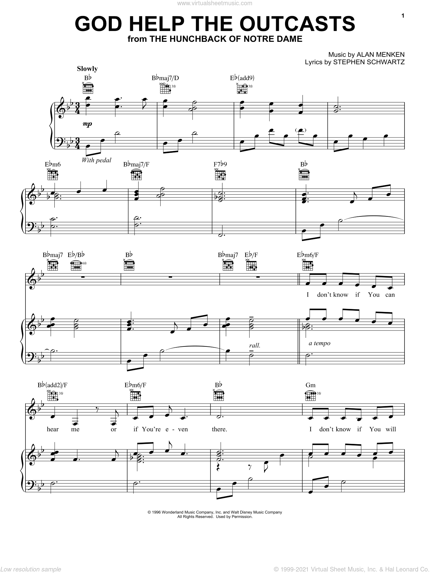 God Help The Outcasts sheet music for voice, piano or guitar by Bette Midler, Alan Menken and Stephen Schwartz, intermediate. Score Image Preview.