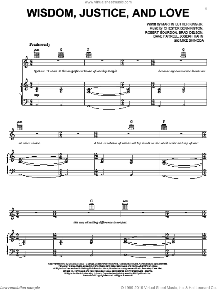 Wisdom, Justice, And Love sheet music for voice, piano or guitar by Rob Bourdon, Linkin Park, Brad Delson and Mike Shinoda. Score Image Preview.