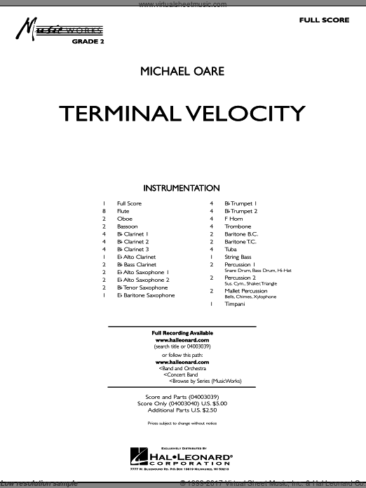 Terminal Velocity (COMPLETE) sheet music for concert band by Michael Oare