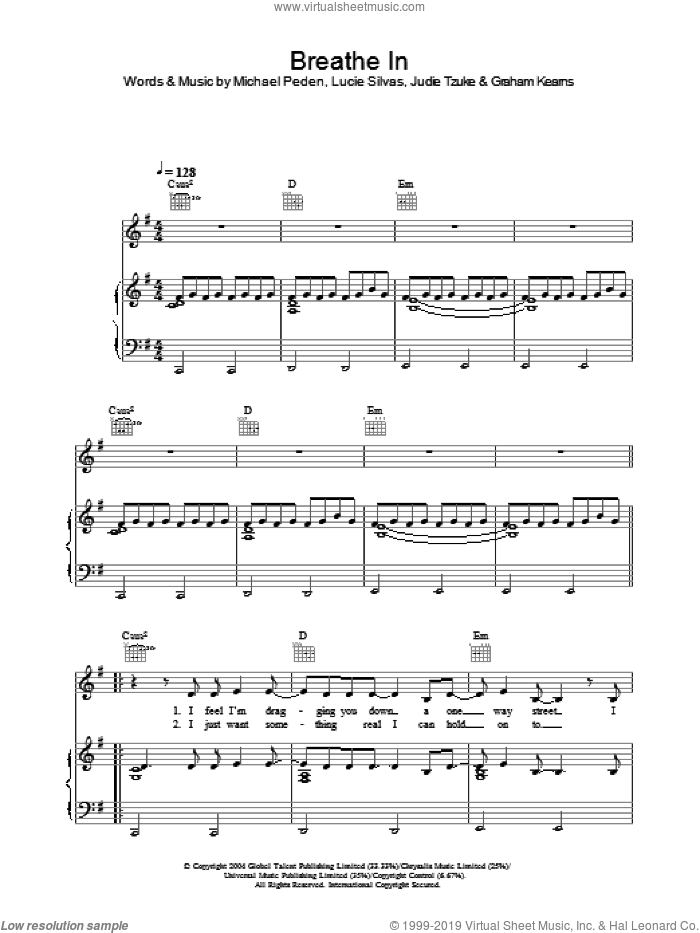 Breathe In sheet music for voice, piano or guitar by Lucie Silvas and Judie Tzuke, intermediate. Score Image Preview.