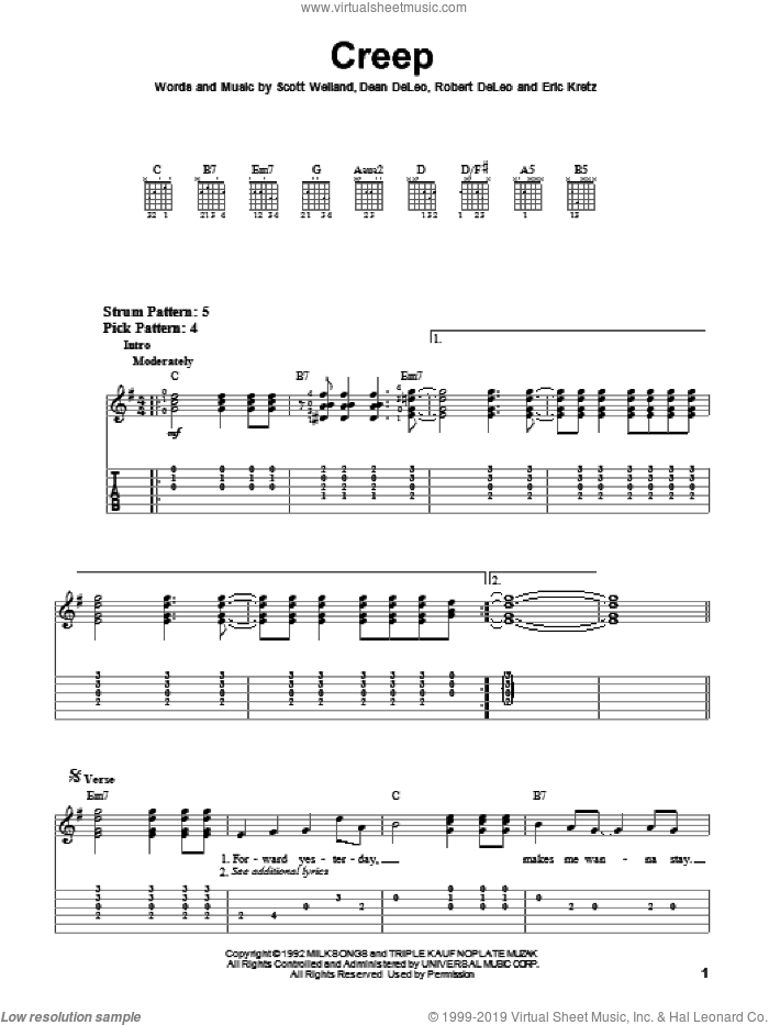 Creep sheet music for guitar solo (easy tablature) by Scott Weiland. Score Image Preview.