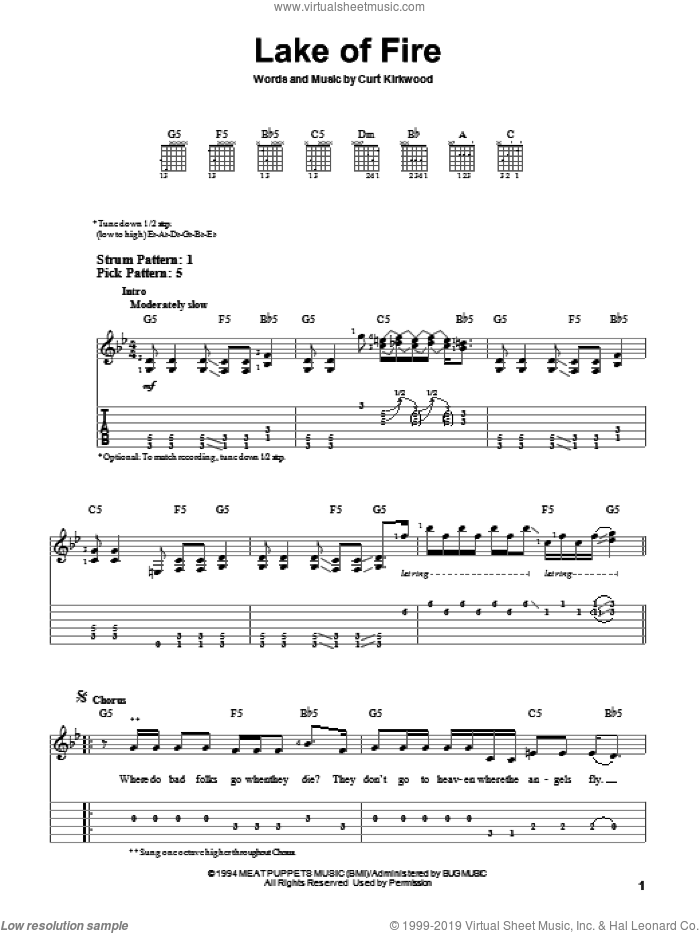 Lake Of Fire sheet music for guitar solo (easy tablature) by Nirvana, easy guitar (easy tablature). Score Image Preview.