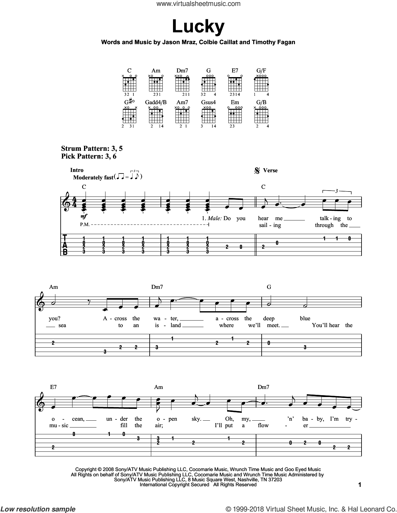 Lucky sheet music for guitar solo (easy tablature) by Jason Mraz & Colbie Caillat, Colbie Caillat, Jason Mraz and Timothy Fagan, wedding score, easy guitar (easy tablature). Score Image Preview.