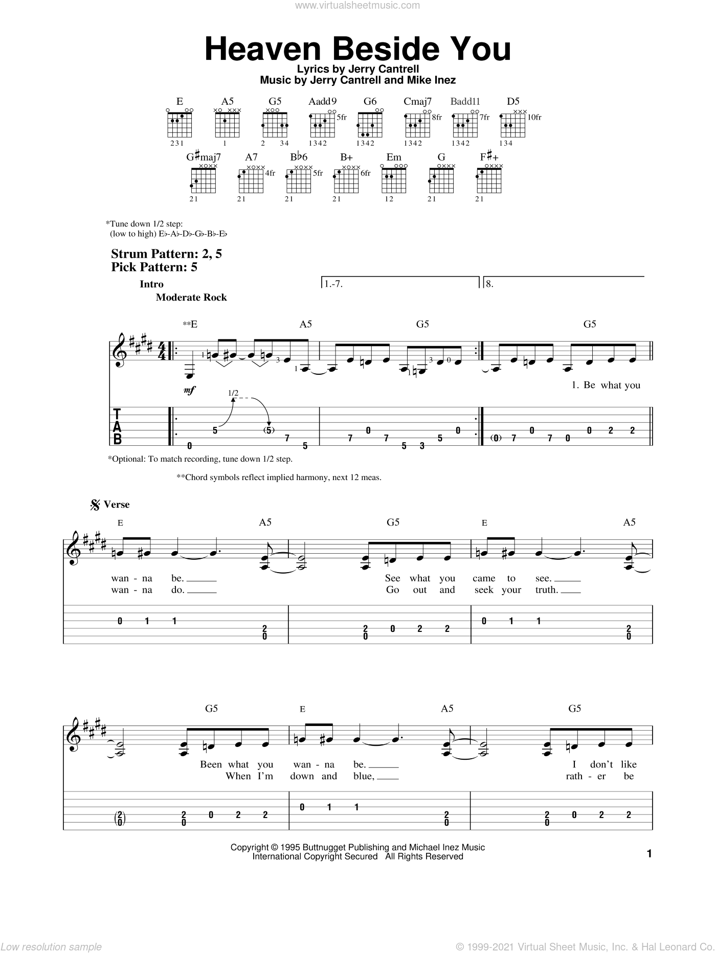 Heaven Beside You sheet music for guitar solo (easy tablature) by Mike Inez, Alice In Chains and Jerry Cantrell. Score Image Preview.