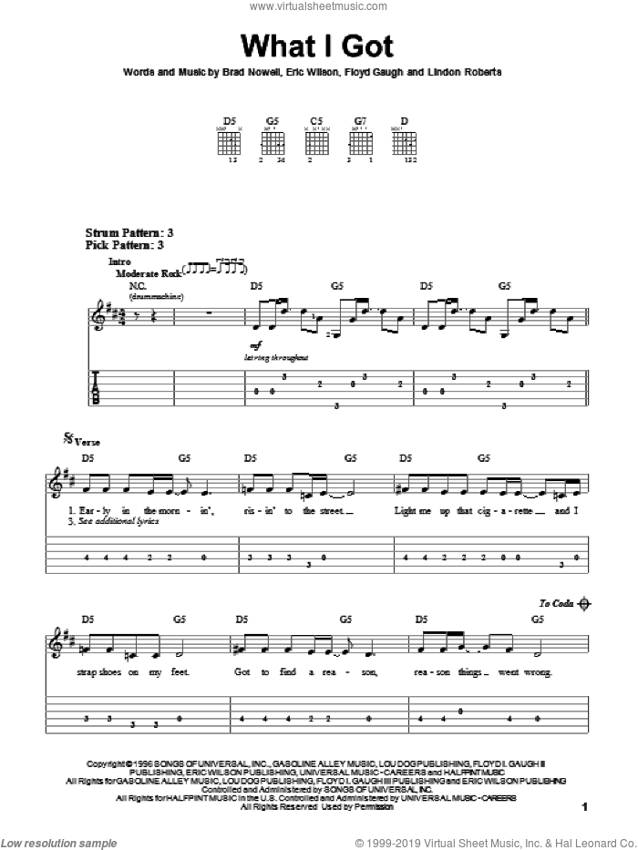 What I Got sheet music for guitar solo (easy tablature) by Sublime, Brad Nowell, Eric Wilson, Floyd Gaugh and Lindon Roberts, easy guitar (easy tablature)