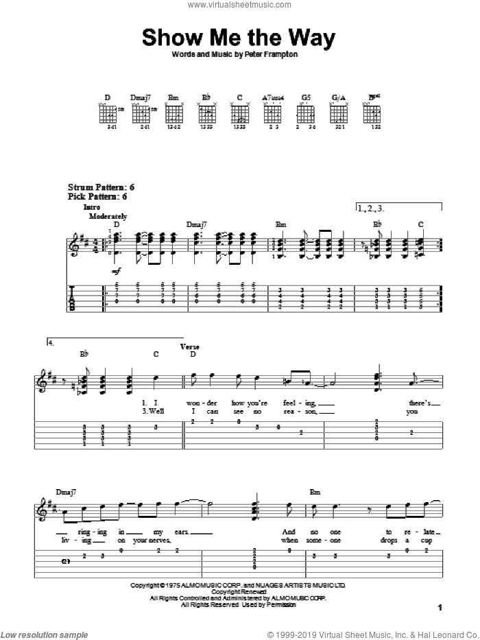 Show Me The Way sheet music for guitar solo (easy tablature) by Peter Frampton, easy guitar (easy tablature). Score Image Preview.