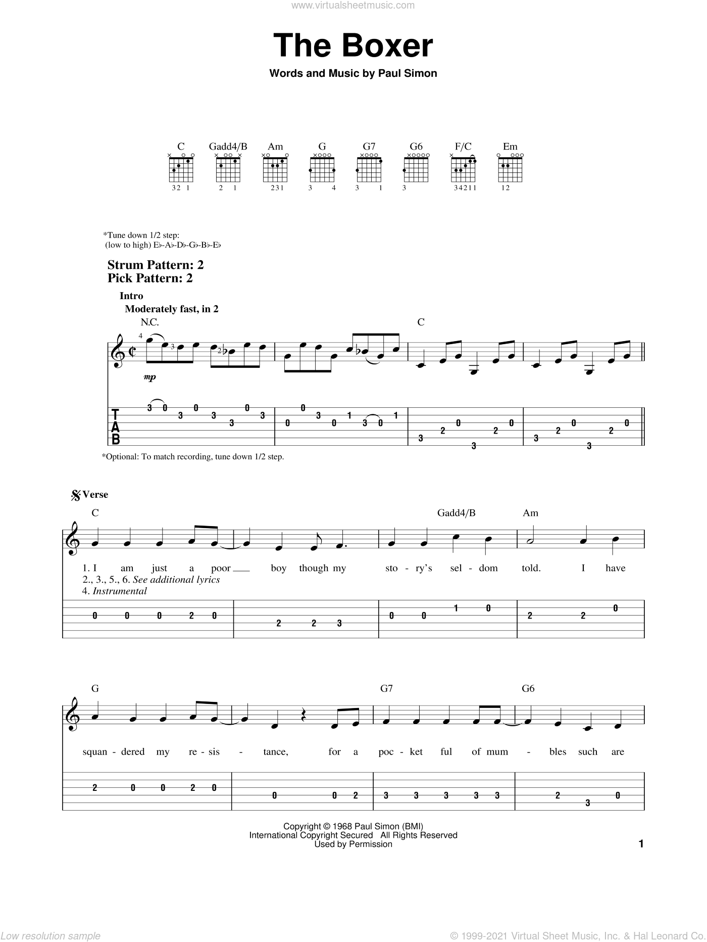 The Boxer sheet music for guitar solo (easy tablature) by Simon & Garfunkel and Paul Simon, easy guitar (easy tablature)