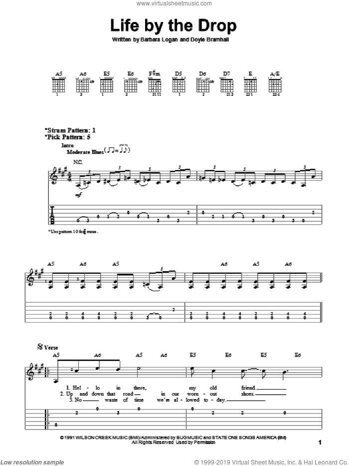 Life By The Drop sheet music for guitar solo (easy tablature) by Stevie Ray Vaughan, Barbara Logan and Doyle Bramhall, easy guitar (easy tablature)