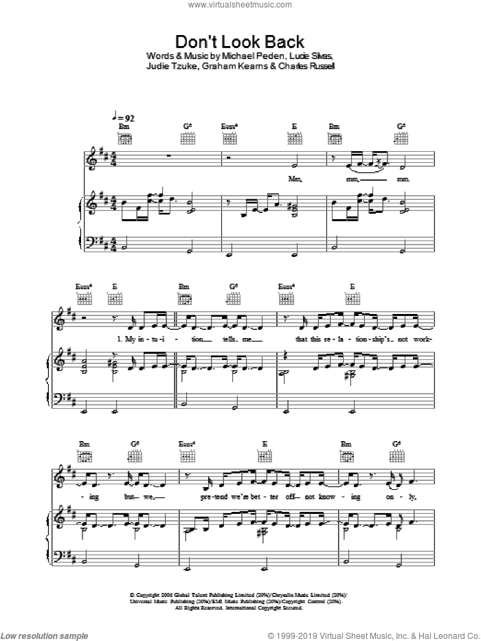Don't Look Back sheet music for voice, piano or guitar by Michael Peden and Lucie Silvas. Score Image Preview.